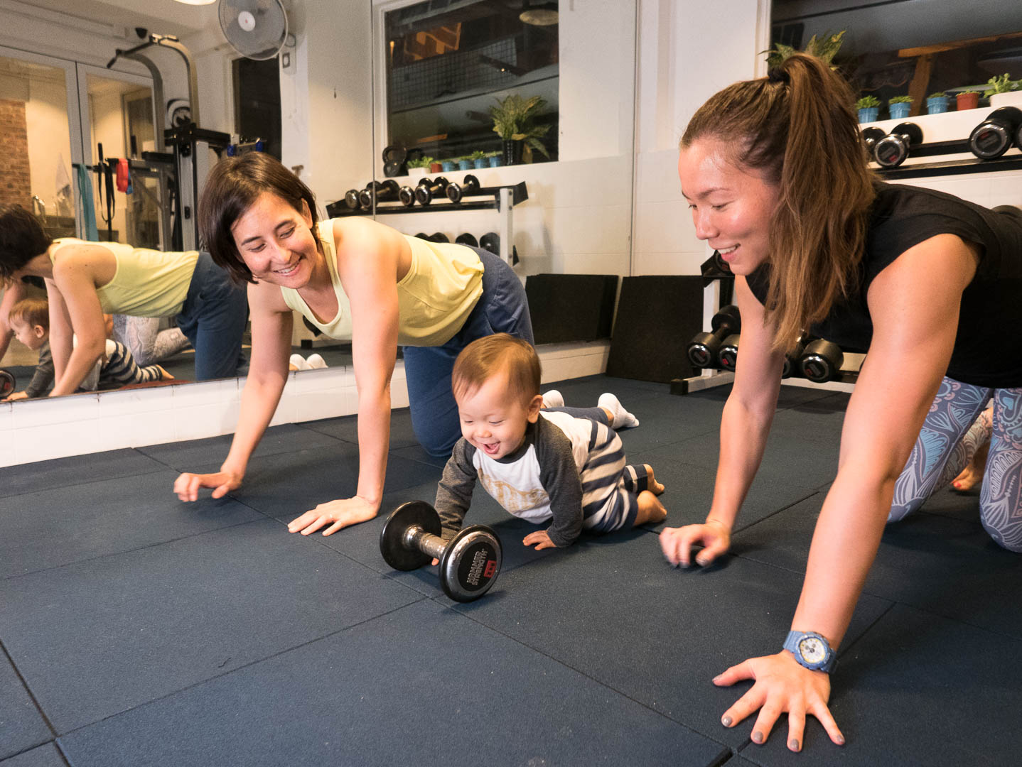 Playing with Baby During Postnatal Training at Aqua Terra Performance